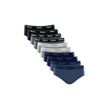 Imagem de Kit 10 Cuecas Slip Mash Lisa Algodão Azul/Cinza/Preto