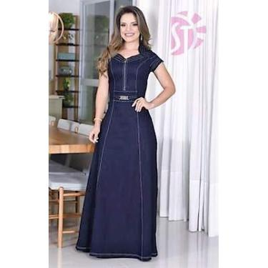 Vestido Longo Moda Evangélica Jeans com Lycra Moda Feminina