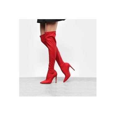 Bota Over The Knee Luiza Barcelos Elastano Ecowear Feminina - Vermelho