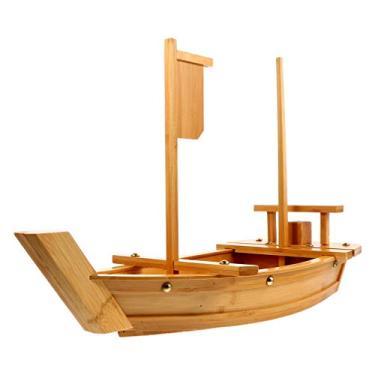 Imagem de HEMOTON 1 bandeja de madeira de bambu, bandeja de sushi de madeira, bandeja de sushi, bandeja de sushi, bandeja de sushi, bandeja de sushi, bandeja de madeira para barcos (80 cm)
