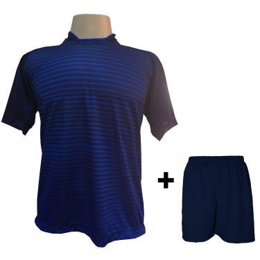 Imagem de Uniforme Esportivo Com 18 Camisas Modelo City Marinho/Royal + 18 Calções Modelo Madrid + 1 Goleiro + Brindes