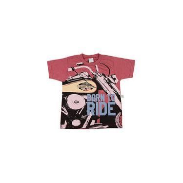 Camiseta Infantil Malha Vintage Silk Born To Ride - Vermelho