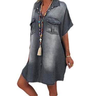 Vestido feminino casual de manga curta com botões e bolsos UUYUK, Cinza, Medium