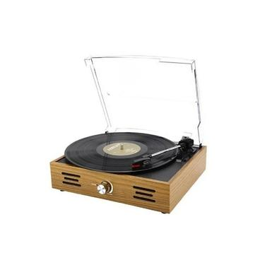 Vitrola Toca Discos Retrô Bluetooth 5.0 Entrada Auxiliar Vintage Bivolt Função Auto-stop Saída RCA 5W Pulse Perkins Turnable