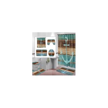 Imagem de Blue Ship Anchor Print Decoração do banheiro Cortina de chuveiro à prova de mofo à prova de água + Antiderrapante Tapete de banheiro Pedestal + tampa de vaso sanitário + tapete de chão Tapete de banho