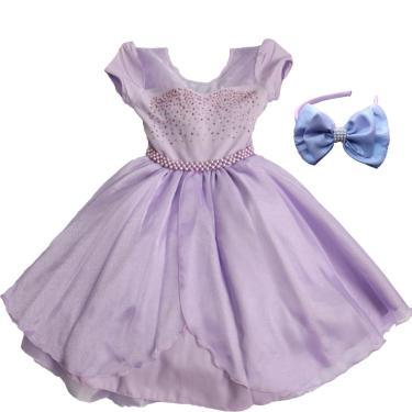 3e2692607 Vestido de Festa Princesa Sofia Luxo Com Tiara e Sapatilha - XG 15 - 16