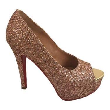 Sandália Peep Toe Pata Salto Alto Fin Dourada Bronze Glitter