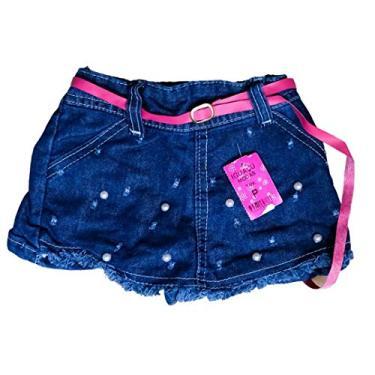 Short Saia Jeans Infantil Tamanho:P;Cor:Rosa