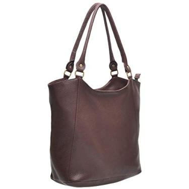 Bolsa feminina de ombro estilo sacola forrada em legitimo couro bovino tipo floater 02 (Bolsa 02 Chocolate)