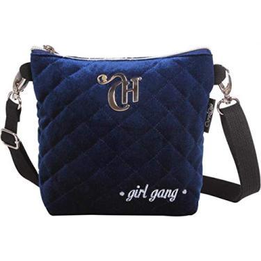 Bolsa DMW Capricho Love 11317 Pochete 2 em 1 Lateral Pequena Veludo Azul