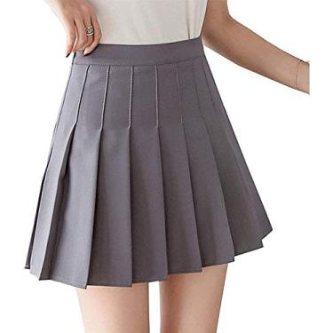 Juliet Holy Saia plissada de cintura alta para meninas, uniforme escolar, mini saia com forro, Cinza, L