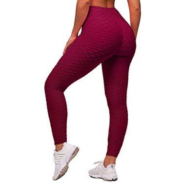 Memoryee Calça legging feminina de cintura alta para ioga, Wine Red, L