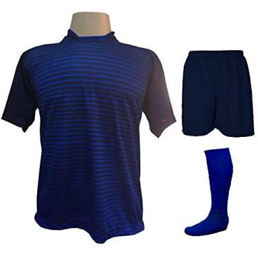 Imagem de Fardamento Completo modelo City 18+2 (18 Camisas Marinho/Royal + 18 Calções Madrid Marinho + 18 Pares de Meiões Royal + 2 Conjuntos de Goleiro) + Brindes