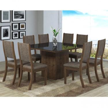 Conjunto Sala de Jantar Mesa 8 Cadeiras Isabela Viero Grigio/Canela/Vidro Preto