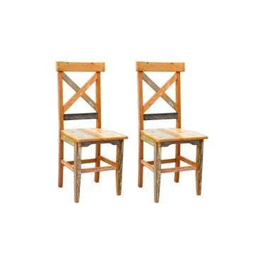 Cadeira Rústica de Madeira Maciça Mineira X com Pátina - 2 Unidades
