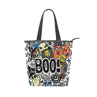 Bolsa de ombro com alça superior de lona, conjunto de desenho animado com tema de Halloween, bolsa de ombro para mulheres