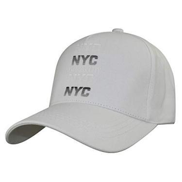 Imagem de Boné de beisebol com estampa de NYC da MINAKOLIFE New York City de algodão e sarja, Branco, 56-60cm
