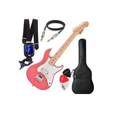 Imagem de Guitarra Eletrica Phx Infantil Criança Jr Ist Pink Afinador