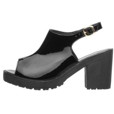 Sandália Plataforma DuduDias10 Tratorada Verniz Preta  feminino