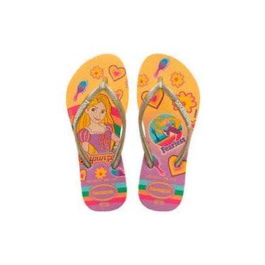 Imagem de Chinelo Havaianas Disney Princesas Rapunzel Infantil Menina Nome do desenho:Rapunzel/Dourado;Tamanho:23/24