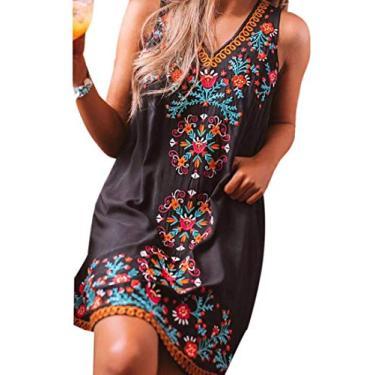 Vestido midi feminino sem manga com gola V YYear com estampa casual totem Shift, Preto, S