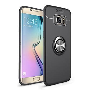 Cellular Capa para Samsung Galaxy S7 Edge Capa Case Anel Suporte Magnético Protetor de Suporte TPU + ABS Silicone Capa Anti-queda Atualização função de suporte Caso Cell Case:Preto