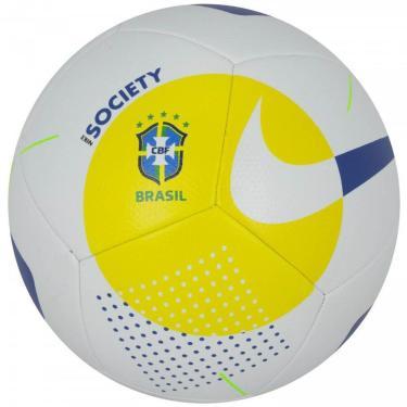 Bola de Futebol Nike Society CBF SC3977-101, Cor: Branco/Azul Marinho, Tamanho: 5