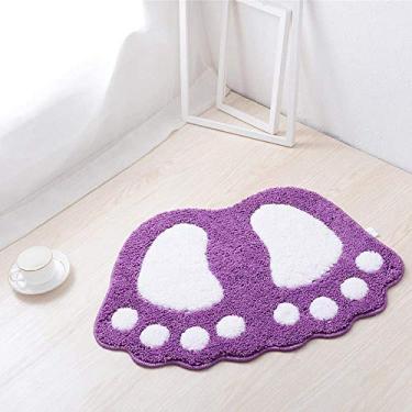 Imagem de Tapete de banheiro antiderrapante para banheiro com pés grandes e fofos, tapetes de banheiro com área absorvente, capacho para sala de estar, cozinha, tapete (roxo, 48 x 66 cm)