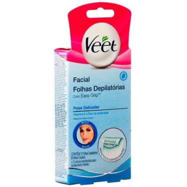 Depilador Veet Folhas De Cera Fria Facial Peles Delicadas Com 12 (6 Folhas Duplas) + 2 Lenços Umedecidos