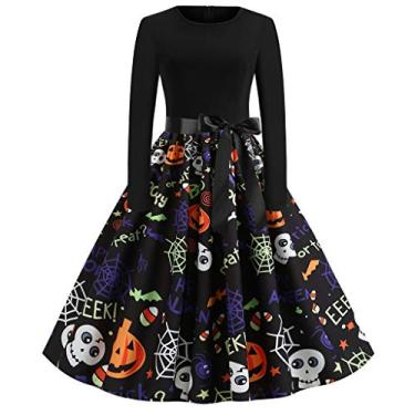 ZEFOTIM Vestido de Halloween Natal 2020, vestido feminino vintage de manga comprida anos 50 para dona de casa para festa noturna, J-black, Medium