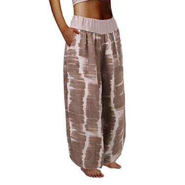 SAFTYBAY Calça harém feminina boho, cintura franzida, calça harém para ioga, hippie, calça de praia para verão, calça rodada, boêmia, Bege, 4X-Large