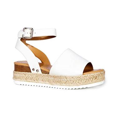 Sandália J. Adams Blair Espadrille – Sandália de palha plataforma bico aberto tira no tornozelo, White Pu, 5.5