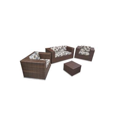 Sofá fibra Sintética Quadrado Alumínio - 1 Sofá 2L+2 Poltronas+1 Mesa de Centro tecido Resort