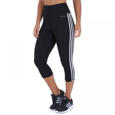 Calça Capri adidas D2M 3 Stripes Tight - Feminina adidas Feminino
