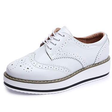 Sapatos femininos Catata Wingtip Wedges Oxfords Plataforma de cadarço Brogues Casamento, Branco, 6