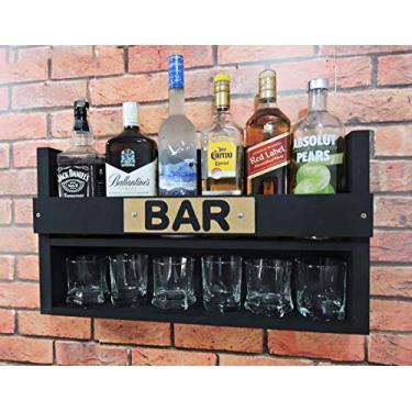Imagem de Bar Barzinho Suspenso Suporte De Parede Adega Vinhos Bebidas Madeira MDF 35x60cm Preto Fosco
