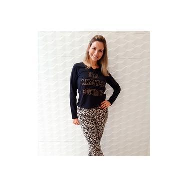 Pijama feminino inverno longo preto