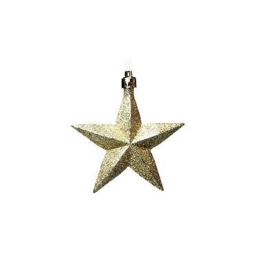Enfeite Para Pendurar Árvore Natal Estrelas 6 Peças Dourado