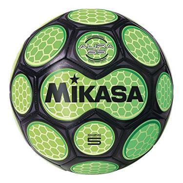 Bola de futebol Mikasa, tamanho 5, preto/verde neon