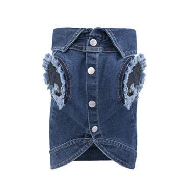 United Pups jaqueta jeans fashion para cães (azul gelado, tamanho 3)
