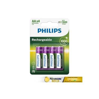 Kit 8 Pilhas Palito Aa Recarregaveis Philips