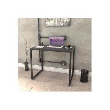 Mesa para Escritório Office Estilo Industrial 90cm Kuadra Compace Preto Onix