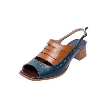 Sandália Pierrô bico quadrado salto baixo couro legítimo cor azul