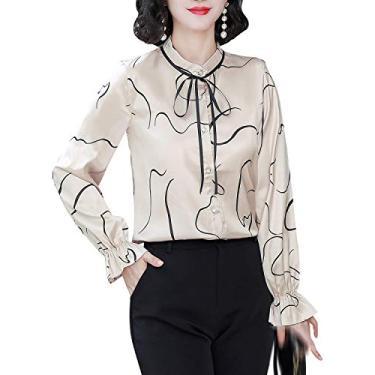 Blusa feminina com estampa floral e botões, Champagne 14383, 8