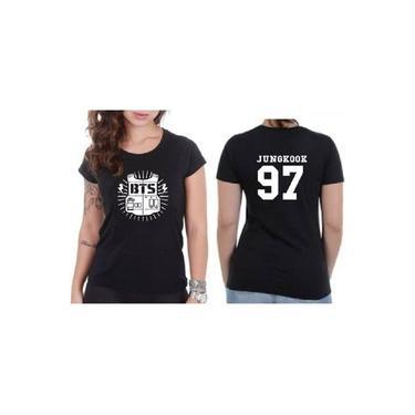 Camiseta Camisa Feminina Babylook Bts Kpop Bangtan Boys Logo Colete Integrante JungKook 97 Preto