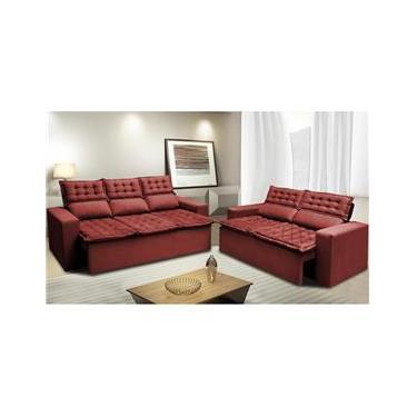 Imagem de Conjunto de Sofá 3 e 2 Lugares Retrátil e Reclinável Cama inBox Slim 2,00x1,50m Velusoft Vermelho