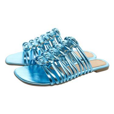 Sandalia Rasteirinha Bico Quadrado Chinelo Tira Brilho Olzzy Rasteira Metalizado Azul Celeste  feminino