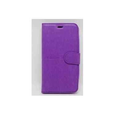 Capa Carteira Moto g5 5.0 Xt1672 roxa + Película Vidro 3d