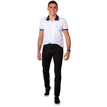 Calça Jeans Sarja Masculina Skinny Slim com Lycra Preta - 40