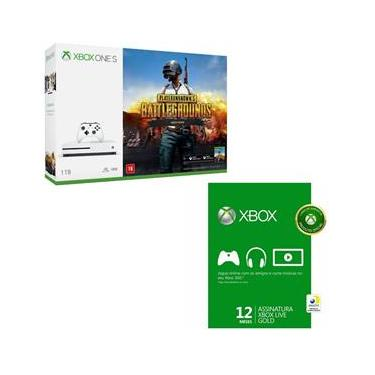 Kit Console Microsoft Xbox One S 1TB + Playerunknowns Battlegrouns + Live Gold 12 Meses
